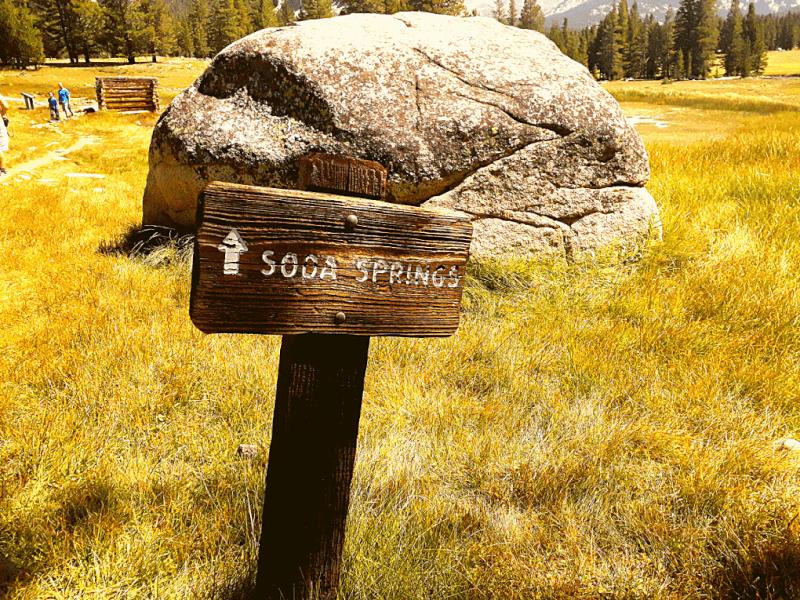 Soda Springs Hike bordje Tuolumne Meadows