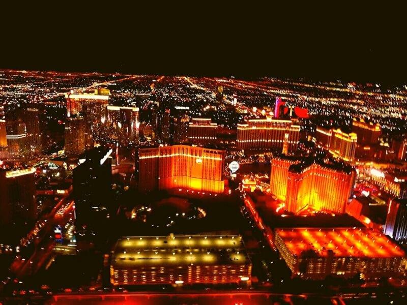 Uitzicht vanaf helicopter boven Las Vegas