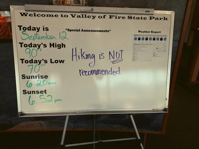 Hiking niet aanbevolen