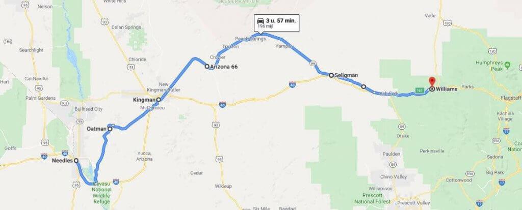 Route 66 kaart Amerika